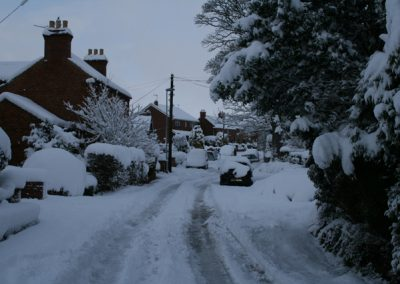 A very snowy road in Messingham