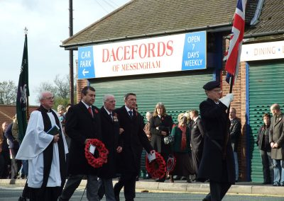A Rembrance Sunday parade to the Messingham War Memorial
