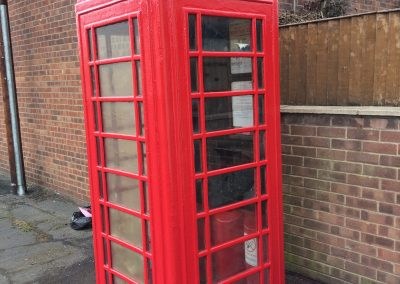 An old fashioned red telephone box in Messingham