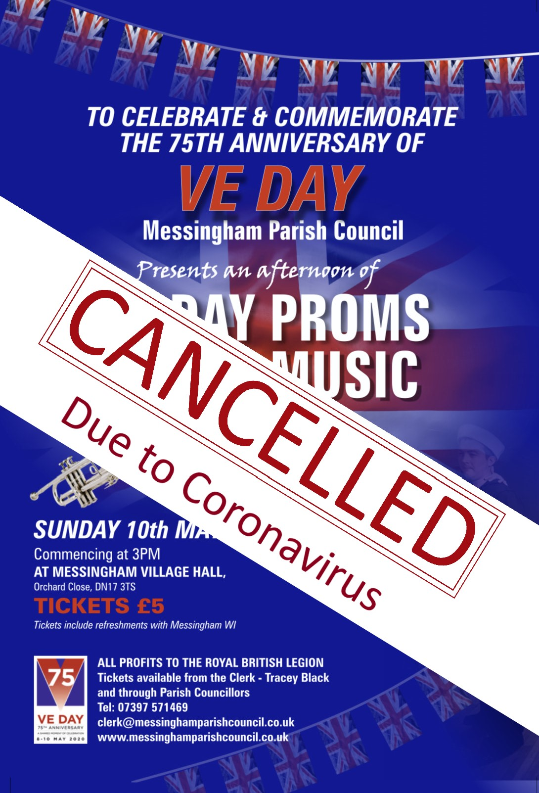 A poster for the Messingham VE Day Proms celebration - cancelled due to the COVID-19 pandemic